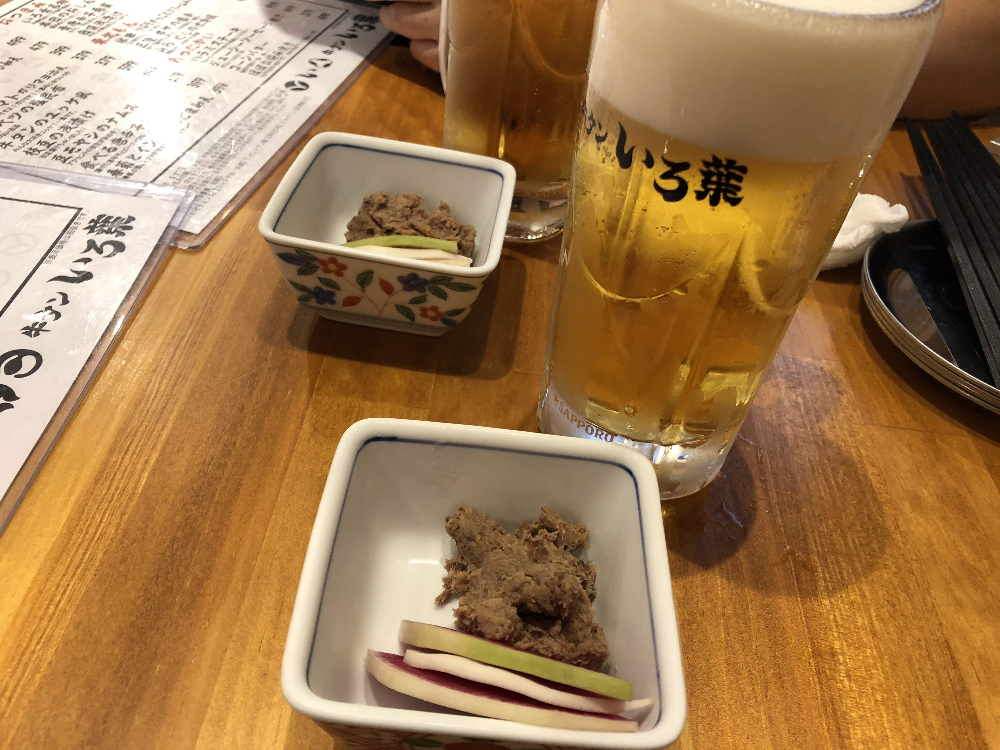 調布「いろ葉」お通しと生ビール