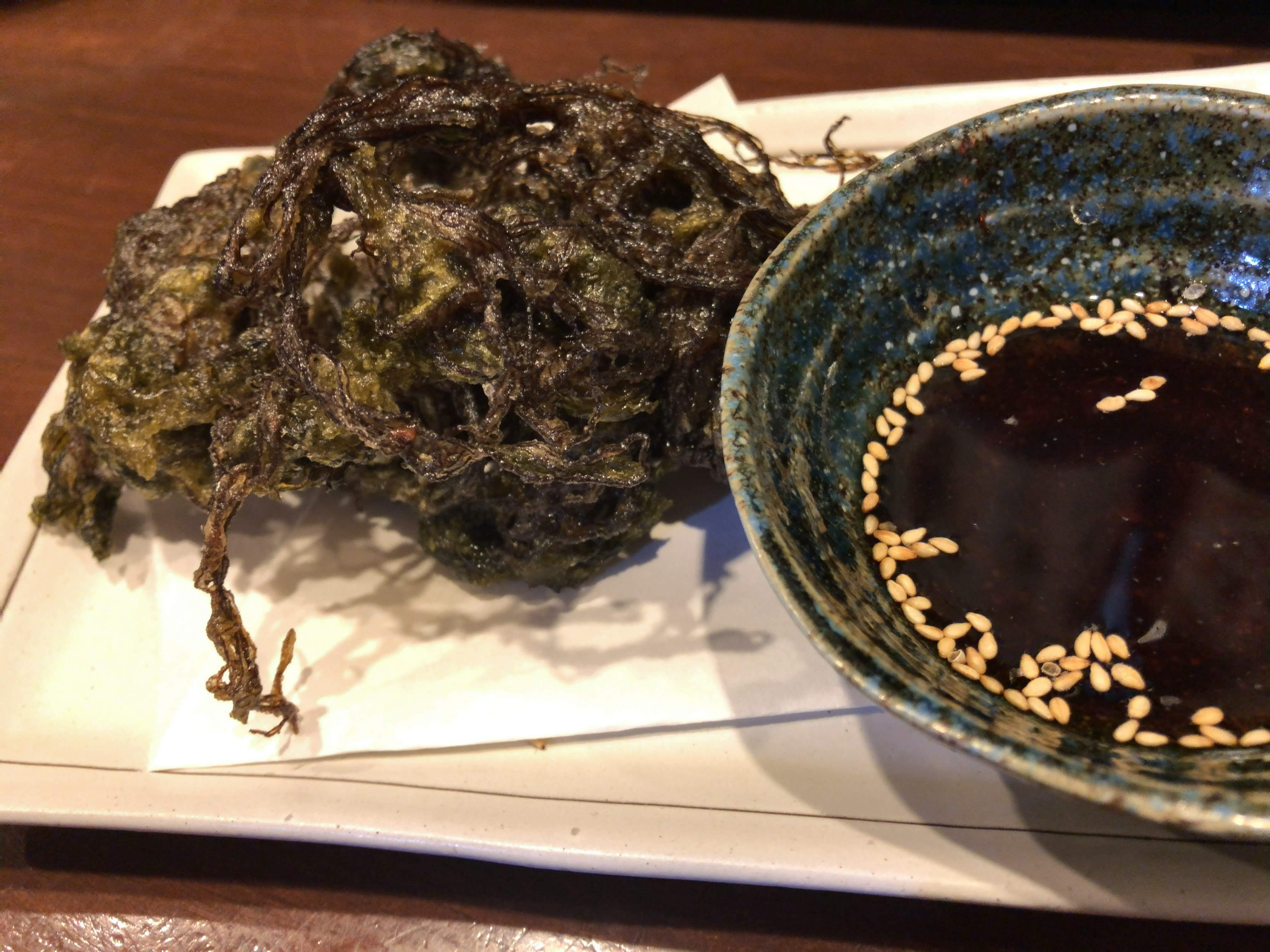 調布「うまかもん屋 博多 なべ英」もずくの天ぷら