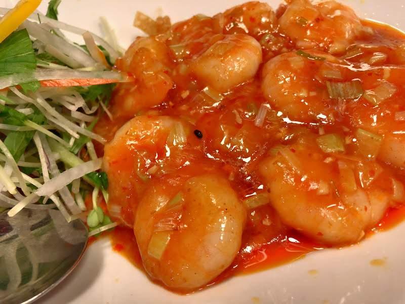 国領「麺飯坊 無双(めんはんぼう むそう)」海老チリソース