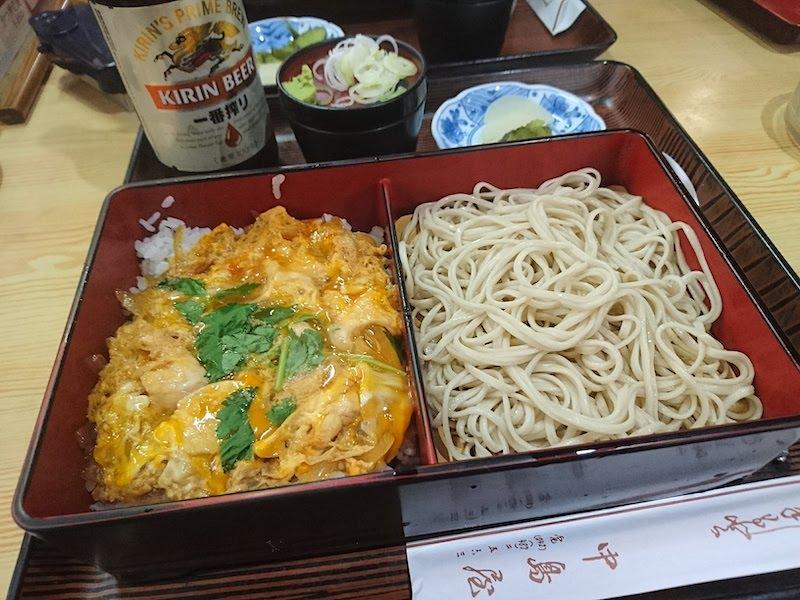 調布「中島屋」親子丼セット(冷そば)