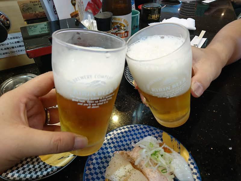 調布寿司祭り「すし銚子丸」ビールで乾杯