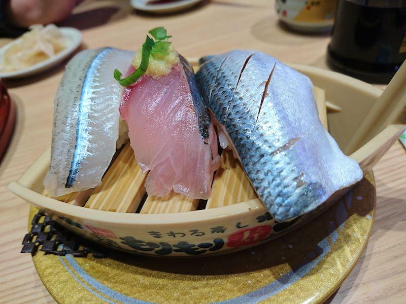 調布寿司祭り「もりもり寿し」ひかりもの3点