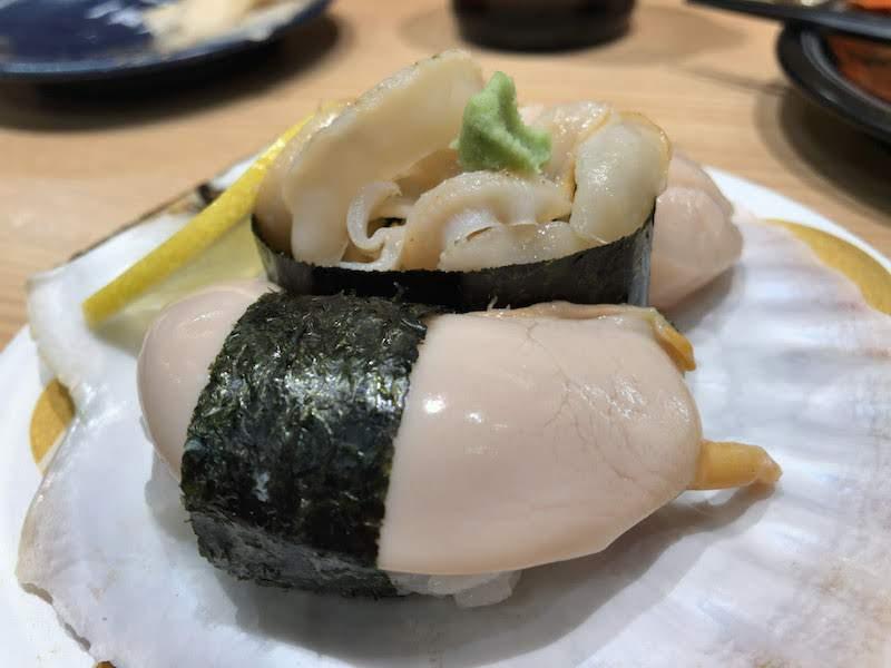 調布寿司祭り「もりもり寿し」本日のおすすめホタテ「肝握り」