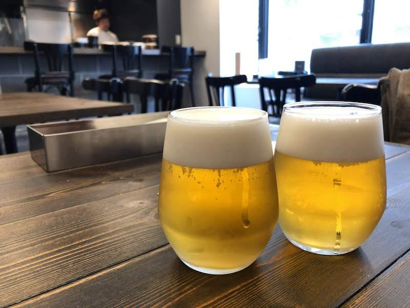 調布「鉄板バル AKICHIランチ」ランチビール