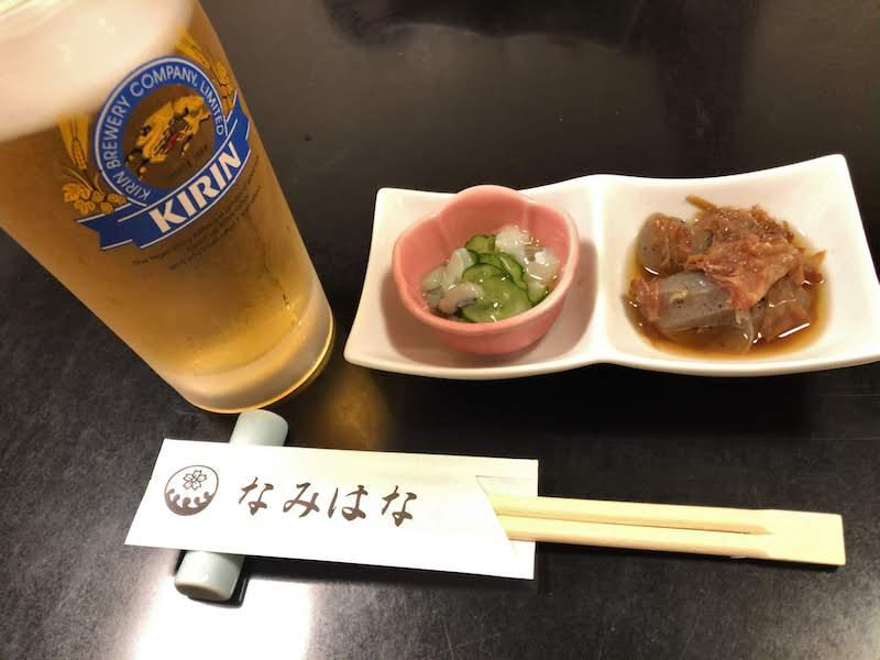 仙川「なみはな」生ビールとお通し