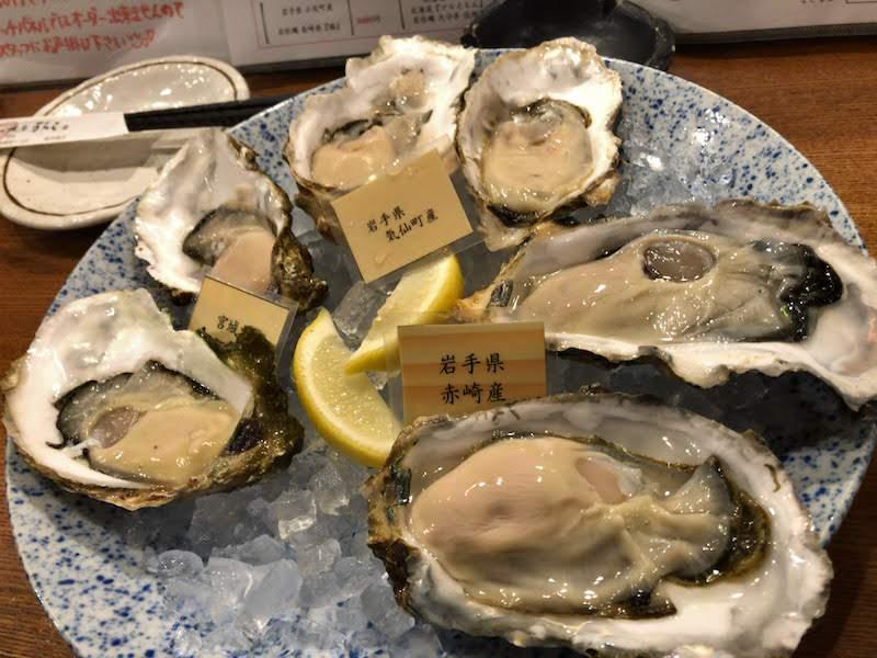 聖蹟桜ヶ丘「牡蠣屋うらら」生牡蠣3種盛り