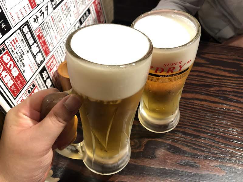 調布駅東口「新店舗オープン」やきとん筑前屋(生ビールで乾杯)
